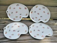 Vtg RC Nippon Toki Kaisha Set of 4 Flower Motif Lunch Snack Plates Noritake 1949