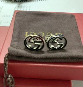 MENS Gucci Cufflinks GG Logo Interlocking G New Silver plated Msrp $380 Dustbag
