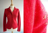 BERKERTEX Red Lambswool Angora Cardigan Top Embroidered Crochet Size 10 to 12