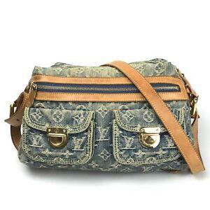 100% authentic Louis Vuitton Monogram Denim Baggy PM M95046 Used 1236-2T29