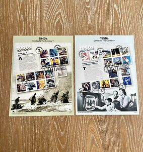 1940's 1950's Celebrate The Century Stamps USPS Souvenir Page First Day Of Issue