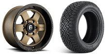 """18"""" Fuel D617 Podium Bronze Wheels AT Tires Package 6x5.5 6x139.7 Chevy GMC"""