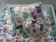 Handmade Dolls Bedding Pram  Blanket Quilt,Pillow & Heart set-The Owl