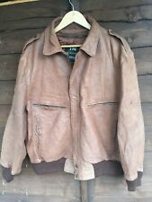 FOG of London quality brown leather Flight Flying Bomber Casual jacket Large