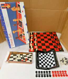 Chess Game Lot (2) 1998 Cardinal #104 And Small Magnetic Chess And Checker Set