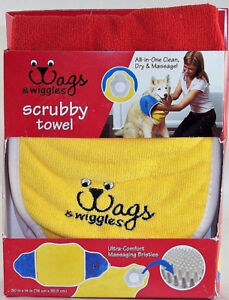 Scrubby Towel Dog Washing Massage Hand Pockets Absorbent Bristle Pad Grooms New