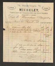 """PARIS (III°) FABRICANT de CHAUSSURES pour DAMES & ENFANTS """"MICHELET"""" en 1873"""