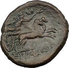 SYRACUSE in SICILY 212BC Greek Coin under Roman Rule Zeus Nike Chariot  i37098