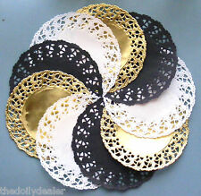 EXCLUSIVE BLACK WHITE AND GOLD PAPER LACE DOILY MEDALLIONS