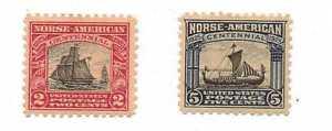 U.S. SCOTT # 620-621 NORSE AMERICAN 1925 PERF 11  (2) Stamps.  M H
