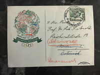 1936 Berlin Germany Olympics Stamps Cancel Postcard Cover to Austria