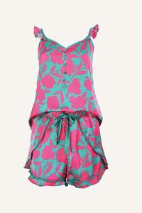 New Ann Taylor Green Hot Pink Floral Satin Flutter Sleeve Short PJ Set Sz S
