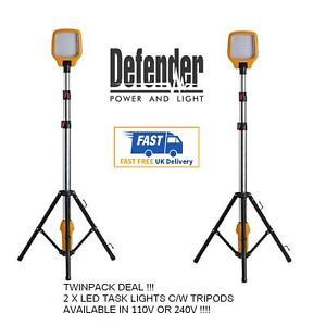 2 x DEFENDER Task Light LED Site Work Lighting   Telescopic Tripod 110v   240v