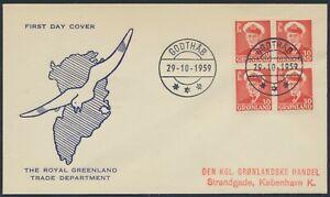GREENLAND. FDC 1959 October 29. 30 Øre red Frederik IX, block of 4 (PK1289)