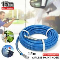 50ft/15m 5000PSI 1/4'' Airless Paint Spray Hose Sprayer Gun Flexible Fiber  🔥