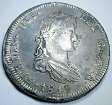 1819 AG Mexico Silver 8 Reales Genuine Antique VF-XF Colonial 1800's Dollar Coin