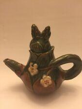 Vintage Tea Pot Green Unusual Markings On Bottom Hand Painted Brown Leaves