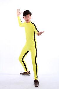 Adult  Bruce Lee Jumpsuit Kung Fu Cosplay Zentai Costume Unisex Sportswear