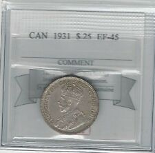 **1931**, Coin Mart Graded Canadian, 25 Cent, **EF-45**