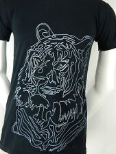 American Apparel 50/50 Blend White Tiger Graphic Print Black T Shirt Small S