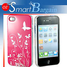 New Hot Pink Butterfly Hard Cover Case For iPhone 4G 4GS + Screen Protector