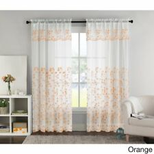 VCNY Bailey Embroidered Curtain Panel with Attached Valance   Orange