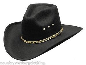 Mens Ladies Western Cowboy Hat Black Pinch Front Rodeo Stetson