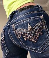Miss Me Straight Great Divine Faux Flap Pocket Denim blue Jeans size 0 25 x 32
