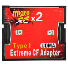 Dual Slot micro SD TF Memory Card to Compact Flash CF Type 1 Adaptor Converter