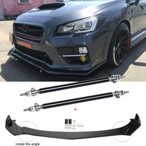 For Subaru WRX STI Front Bumper Lip Spoiler Splitter Glossy Black + Strut Rods A
