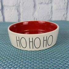"New Rae Dunn ""Hohoho"" Cat Pet Dish Feeding Bowl Ceramic Ivory Red Christmas"