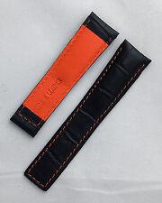 Negro crocodile-style Correa De Reloj Con Naranja Costura para adaptarse a Tag Heuer Monaco