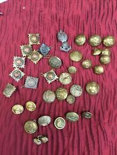 Collection Of WW 1 And WW11 Buttons,Pips And Badges All Brass