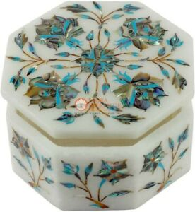 Filigree Design Marble Handicraft Jewelry Box Pauashell Precious Inlay Art E2012