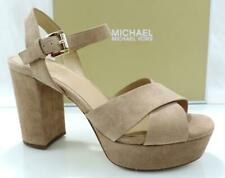 Womens Shoes Michael Kors Diva Platform HEELS Sandals Suede Dark Khaki Size 9.5