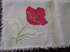 GORGEOUS ANTIQUE HAND EMBROIDERED MADEIRA NATURAL LINEN TABLECLOTH 4pc SET