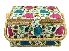Medium Size Sewing Basket w/ Handy Insert And Sewing Notions #1474