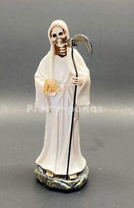 "La Santa Muerte Blanco 5"" Grim Reaper Death White Color -Skull, Skeleton Statue"