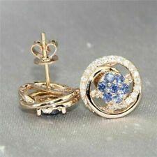 14k Yellow Gold Round Cut 1.50 Carats Tanzanite Stud Earrings