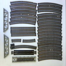 35 Piece Lot Tyco Atlas HO Scale Snap Tracks Brass Straight Curved Bridge A11