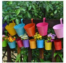 20PCS Metal Iron Flower Pot Wall Fence Hanging Balcony Patio Planter Home Decor