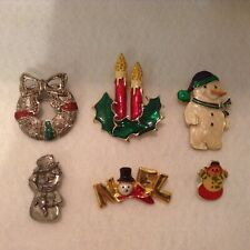 Vintage Christmas Pins, Lot of 6