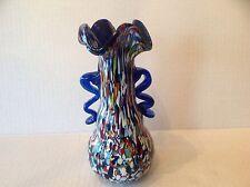 Vtg Murano glass Flared Vase with Murrine blue Handle