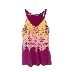 Athleta Womens Floral Purple Yellow Workout Tank Top With Built in Bra Size XS