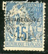 TIMBRE  COLONIES FRANCAISES / GUADELOUPE TYPE DUBOIS OBLITERE N° 19 ETAT