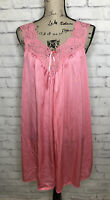 Miss Elaine Vintage Pink Lace Sheer Sleeveless Lace Gown Slip Size Small