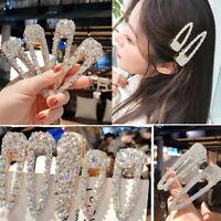 Fashion Women's Crystal Pearl Hair Clips Snap Barrette Hairpin Hair Accessories
