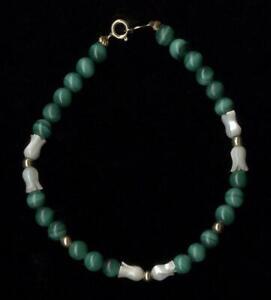 "14K 6.85 Gram Solid Yellow Gold 7"" Green Malachite & Pearl Strand Bracelet yC"