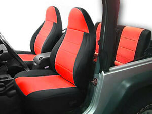 Jeep Wranglar TJ 1997-2002 Wetsuit Neoprene Seat Cover Set: Front & Rear- Red