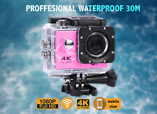 4K 2'' Ultra HD 1080P Sports WiFi Cam Action Camera DV Video Recorder Pink- UK
